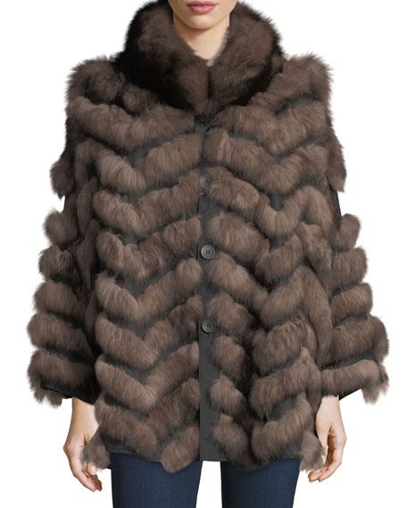 Belle Fare Reversible Fur-Trim Coat, One Size