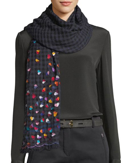 Faliero Sarti L'Acessorio Lovable Wool-Blend Heart Scarf