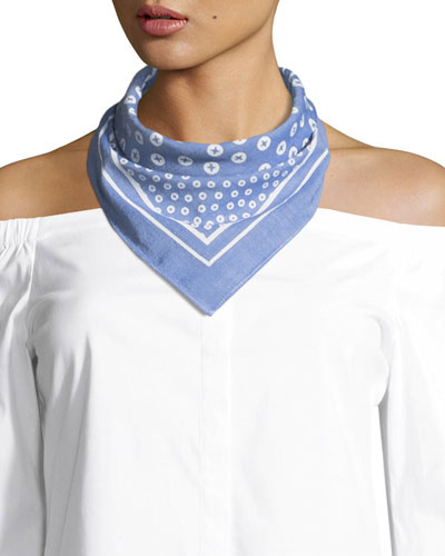 Cotton Bandana Scarf, Light Blue