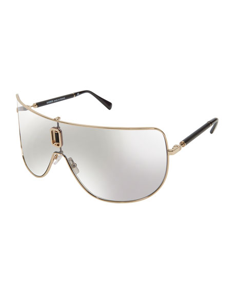 Metal Cutout Shield Sunglasses