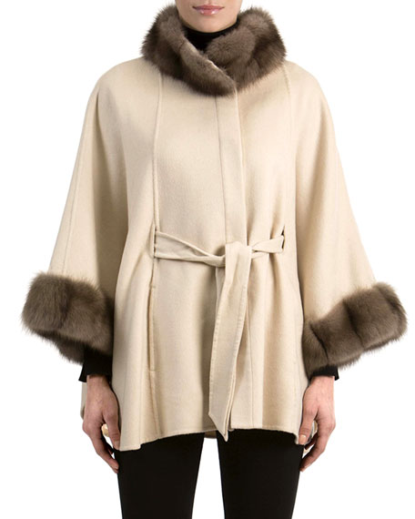 Cashmere Belted Cape with Sable Fur