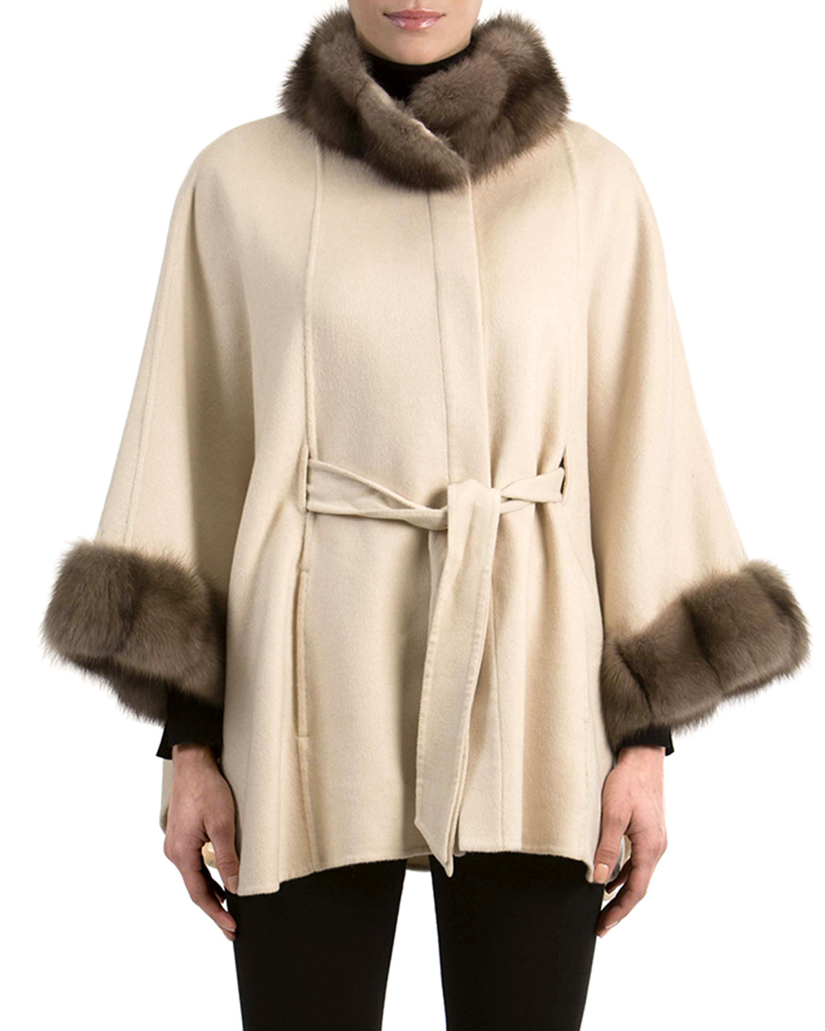 Gorski Cashmere Belted Cape with Sable Fur | Neiman Marcus for Sable Fur Cape  173lyp