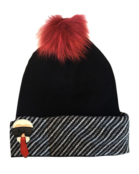 Karlito Cashmere-Blend Beanie Hat w/ Fur Pompom