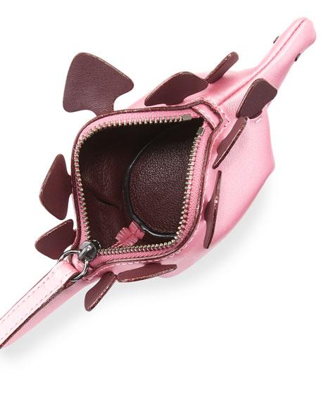 Steggy Dino Leather Coin Case, Light Pink/Primrose