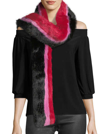 Charlotte Simone Snugglez Faux-Fur Striped Scarf