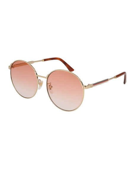 67b86b6ed Gucci Round Metal Web Sunglasses | Neiman Marcus