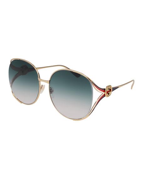 Gucci Oval Web GG Sunglasses, Yellow Pattern