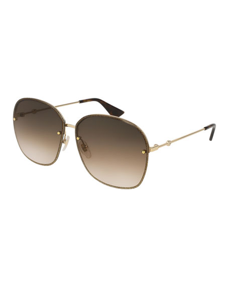 Gucci Glittered Metal Square Sunglasses, Gold