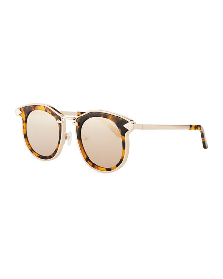Karen Walker Bounty Round Mirrored Sunglasses, Brown