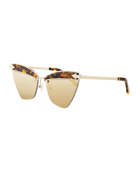 Karen Walker Sadie Cat-Eye Mirrored Geo Sunglasses, Brown