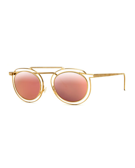 Potentially Cutout Round Sunglasses, Pink