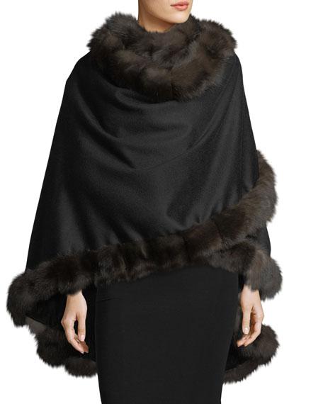 Cashmere Cape w/ Sable Fur Trim