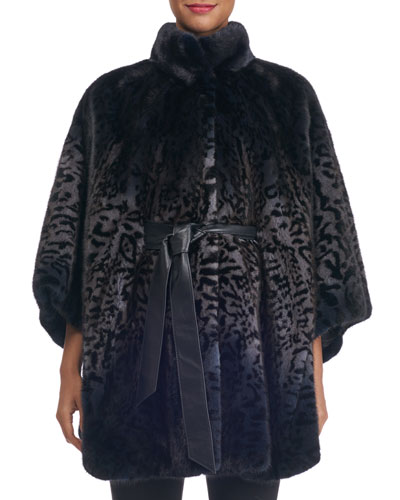 Belted Degrade Cheetah-Print Mink Fur Cape