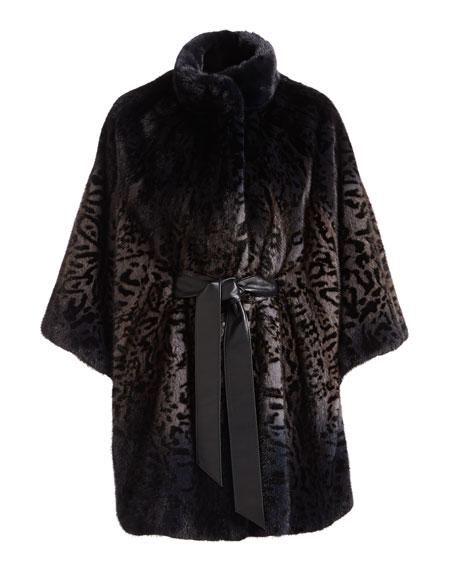Belted Degrade Cheetah-Print Mink Fur Cape