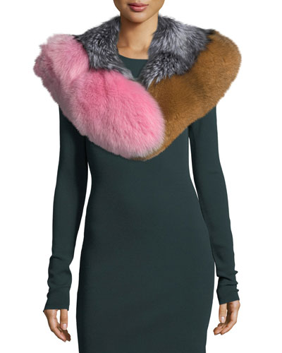 Multicolor Fox-Fur Shawl