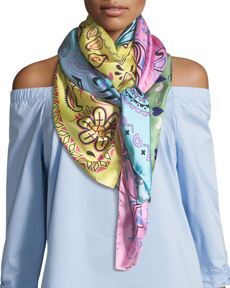 Jane Carr The Bandanas Silk Twill Square Scarf