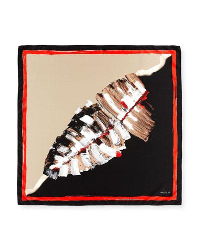 Leaf-Print Square Silk Scarf