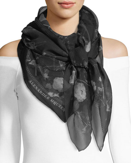 Alexander McQueen Black Magic Silk Scarf