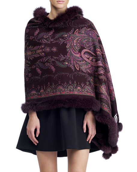 Gorski Paisley Cashmere Stole w/ Fur Trim