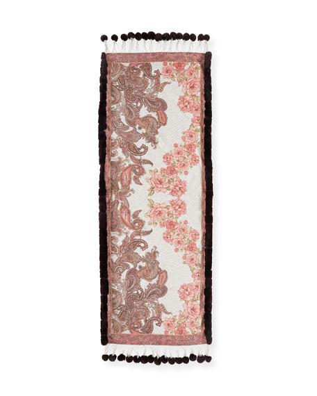 Multi-Print Cashmere Stole w/ Fur Trim, Red