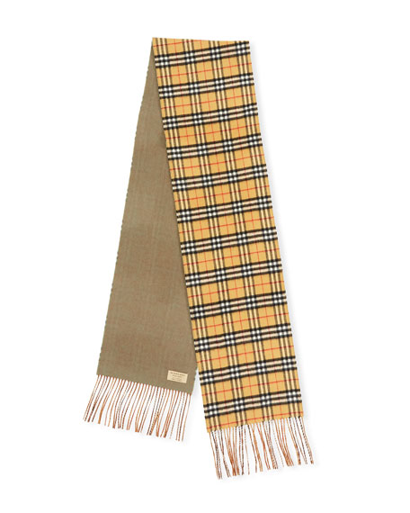 Cashmere Reversible Vintage Check Pattern Scarf