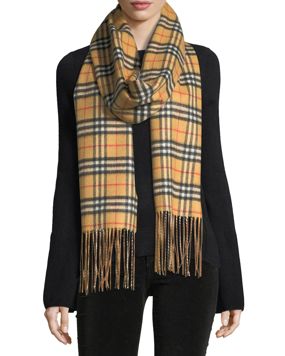 1f3ae212845 Quick Look. Burberry · Cashmere Reversible Vintage Check Pattern Scarf