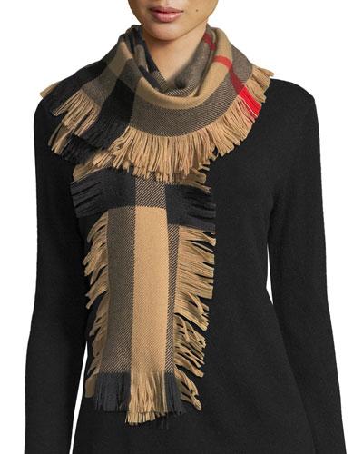 Half Mega Check Fashion Fringe Wool Scarf