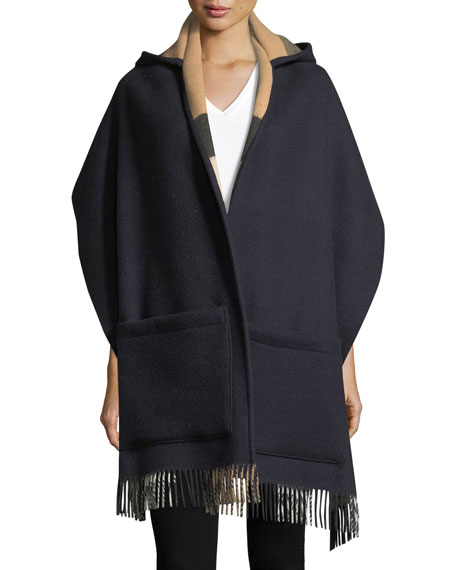 Burberry Helene Wool-Cashmere Hooded Stole