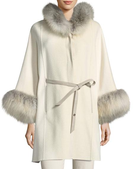 Charton Cashmere Belted Cape w/ Fur Trim