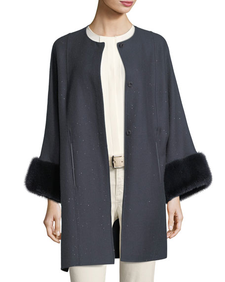 Upper East Midnight Baby Cashmere-Bland Cape w/ Fur Cuffs