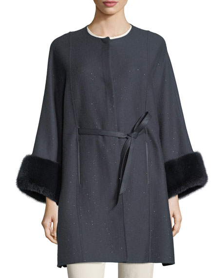 Loro Piana Upper East Midnight Baby Cashmere-Bland Cape