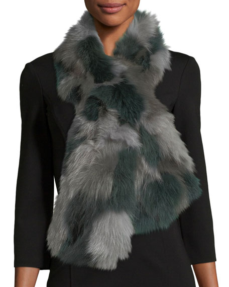 Pologeorgis Fur Pull-Through Scarf, Gray Pattern