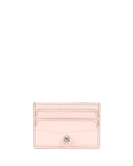 Alexander McQueen Silky Embossed Calf Skull Card Holder