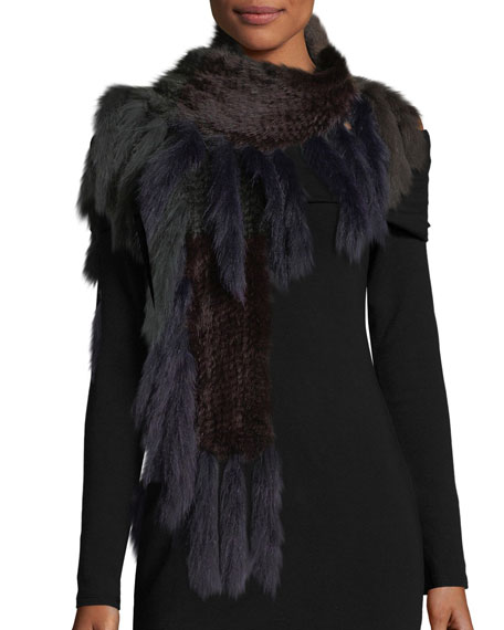 Knitted Mink Fur Scarf w/ Fox Fur Fringe