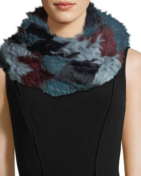 Jocelyn Chevron Long-Hair Rabbit Fur Knit Infinity Scarf