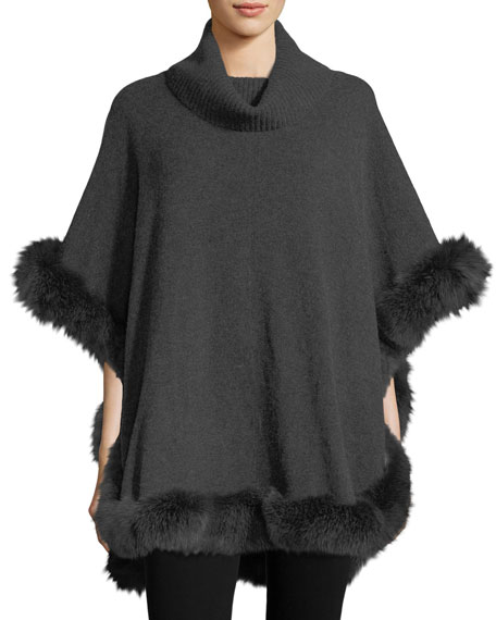 Cashmere Turtleneck Poncho w/ Fur Trim