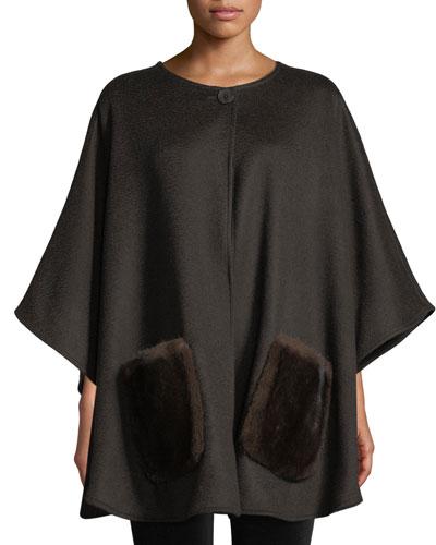 Cashmere Poncho w/ Mink Fur Pockets