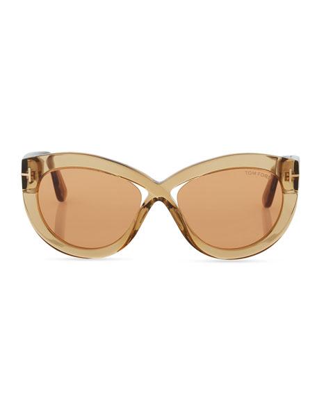 Diane Transparent Acetate Butterfly Sunglasses, Orange Pattern