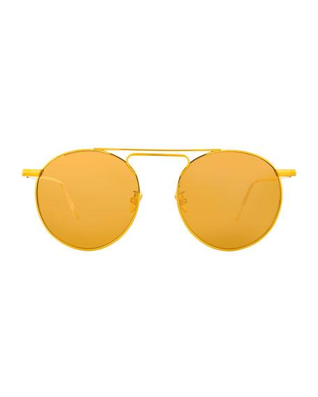 Round Double-Bridge Sunglasses, Yellow Pattern