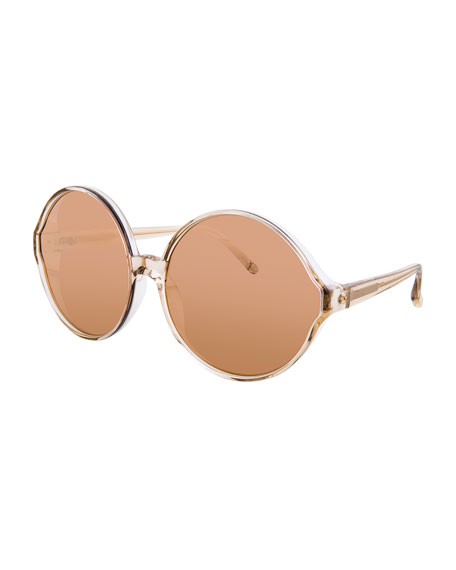 Linda Farrow Transparent Round Sunglasses, Red
