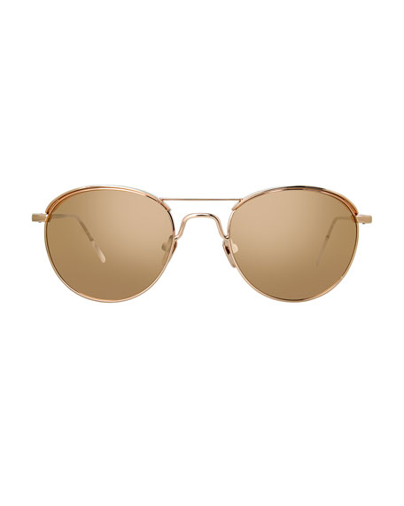 Round Titanium Sunglasses, Rose Gold