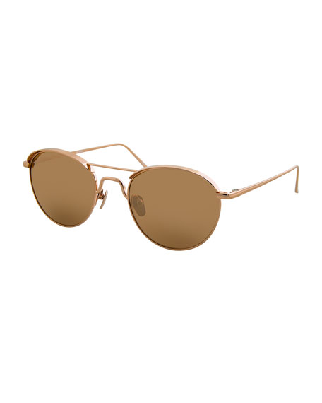 Linda Farrow Round Titanium Sunglasses, Rose Gold