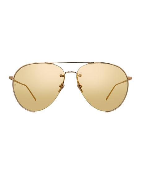 Semi-Rimless Aviator Sunglasses, Rose Gold