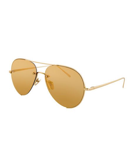 Linda Farrow Semi-Rimless Aviator Sunglasses, Yellow Pattern