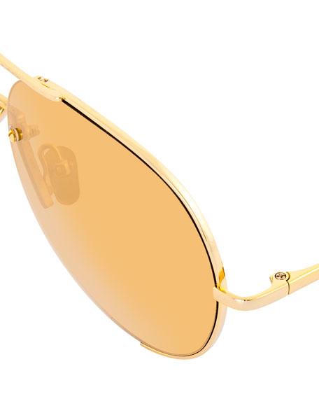 Semi-Rimless Aviator Sunglasses, Yellow Pattern