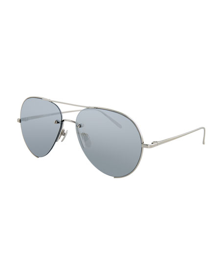 Linda Farrow Semi-Rimless Aviator Sunglasses, White Gold