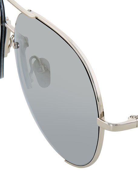 Semi-Rimless Aviator Sunglasses, White Gold