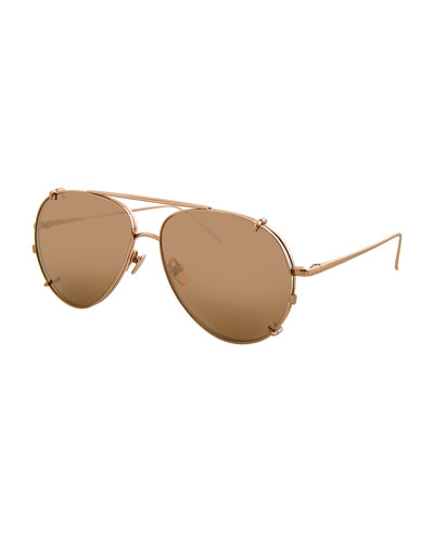 Aviator Glasses w/ Removable Sun Lenses, Rose Gold