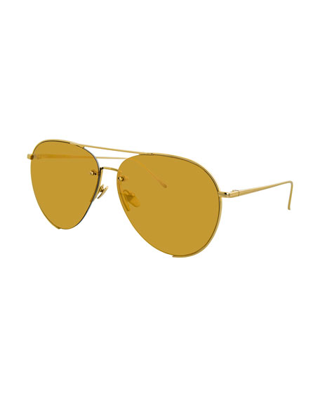 Linda Farrow Semi-Rimless Mirrored Aviator Sunglasses, Gold