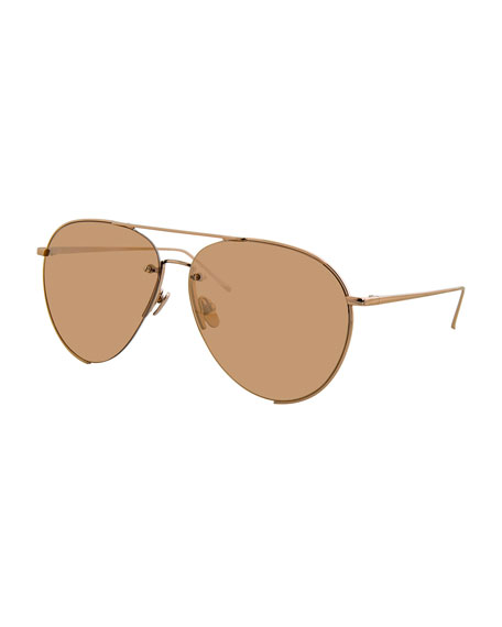 Linda Farrow Semi-Rimless Mirrored Aviator Sunglasses, Rose Gold